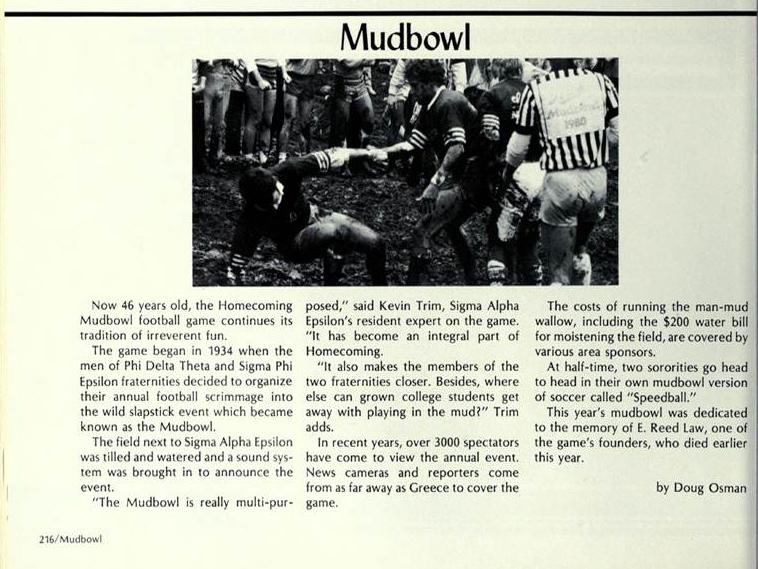 Michigan Ensian Reed 1980 Mud Bowl